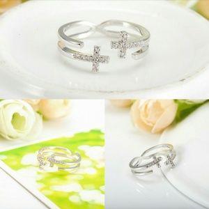 Genuine Cz Crystal Double Cross 18k Platinum Ring